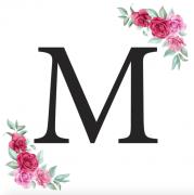 Písmeno M kartička s růžemi