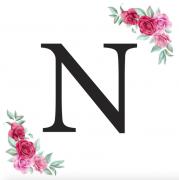Písmeno N kartička s růžemi