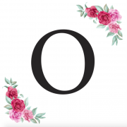 Písmeno O kartička s růžemi