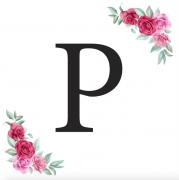 Písmeno P kartička s růžemi