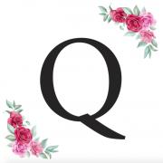 Písmeno Q kartička s růžemi