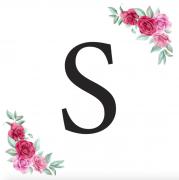 Písmeno S kartička s růžemi