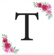 Písmeno T kartička s růžemi