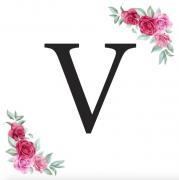 Písmeno V kartička s růžemi