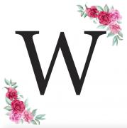 Písmeno W kartička s růžemi