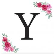Písmeno Y kartička s růžemi