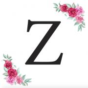 Písmeno Z kartička s růžemi