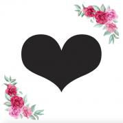 Znak srdce kartička s růžemi