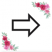 Znak šipka oboustranná kartička s růžemi