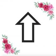 Znak šipka rovně kartička s růžemi