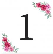 Číslice 1 kartička s růžemi