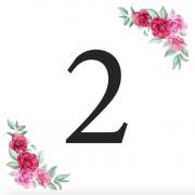 Číslice 2 kartička s růžemi