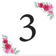 Číslice 3 kartička s růžemi