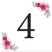 Číslice 4 kartička s růžemi