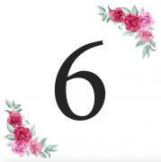 Číslice 6 kartička s růžemi