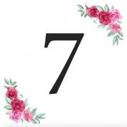 Číslice 7 kartička s růžemi