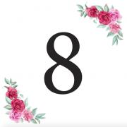Číslice 8 kartička s růžemi