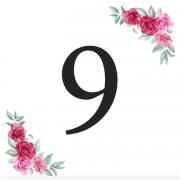 Číslice 9 kartička s růžemi