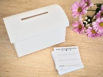 Set truhlička bílá a 50 ks kartiček Rada novomanželům