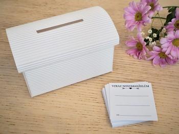Set truhlička bílá a 50 ks kartiček Vzkaz novomanželům