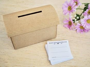 Set truhlička přírodní a 50 ks kartiček Rada novomanželům