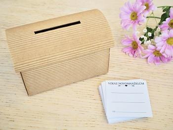 Set truhlička přírodní a 50 ks kartiček Vzkaz novomanželům