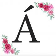 Písmeno Á kartička s růžemi
