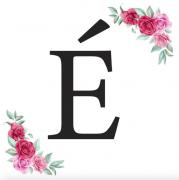 Písmeno É kartička s růžemi