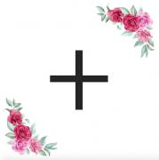 Znak + kartička s růžemi