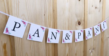 Girlanda PAN&PANÍ bílá s růžičkami