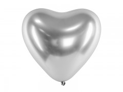Balónek srdce chromové stříbrné