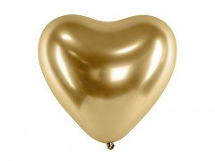 Balónek srdce chromový zlatý