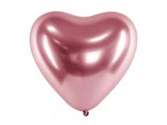 Balónek srdce chromový růžovozlatý