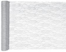 Šerpa na stůl krajka bílo stříbrná 28 cm x 5 m