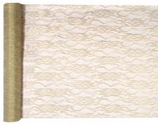 Šerpa na stůl krajka krémovo zlatá 28 cm x 5 m