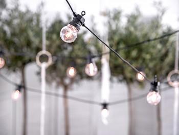 Světelný řetěz černý RETRO žárovky LED