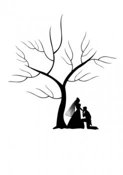 Svatební strom č.12 černý s novomanželi A3