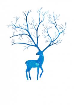 Svatební strom č.13 modrý jelen A3