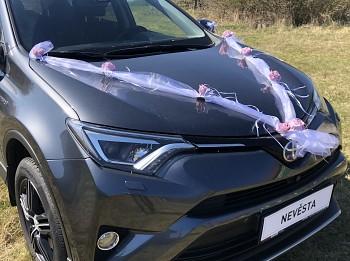 Šerpa na svatební auto bílá s fialovými lila kvítky