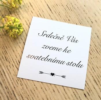 Kartičky 50 ks Srdečně Vás zveme ke svatebnímu stolu č.2