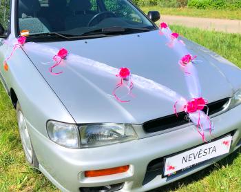 Šerpa na svatební auto bílá se sytě růžovými kvítky