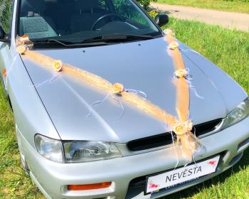 Šerpa na svatební auto broskvová s broskvovými kvítky