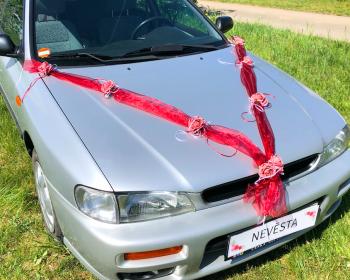 Šerpa na svatební auto bordová s bordovými kvítky