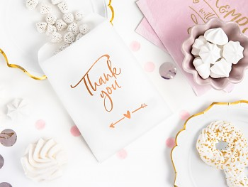 Papírový sáček na sladkosti Thank you růžovozlatý 6 ks