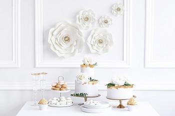 Papírové květy bílé 5 ks