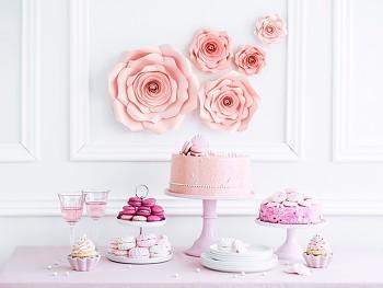 Papírové květy světle růžové 5 ks