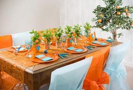 Šerpa na stůl abaka široká oranžová 60 cm x 5 m