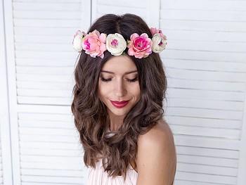 Květinová čelenka růžová 17 cm