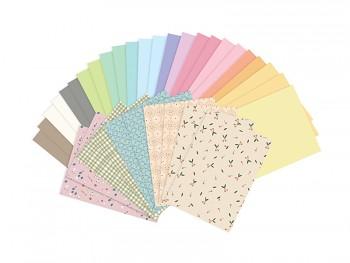Sada jemně pastelových barevných papírů A4 34 ks