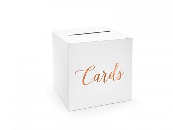 Svatební truhlička ivory s růžovozlatým nápisem Cards